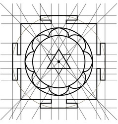 sree yantra sacred geometry coloring book vector image