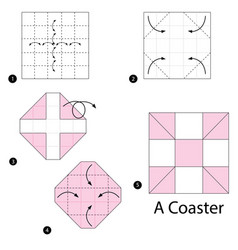 Step instructions how to make origami a coaster vector