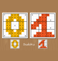 Sudoku set with the answers 0 1 numbers vector