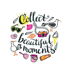 Summer things with stylish lettering - Collect vector image