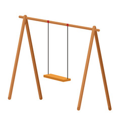 swing wooden playground game vector image
