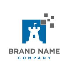 technology fort logo design vector image