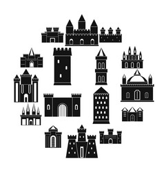 Towers and castles icons set simple style vector