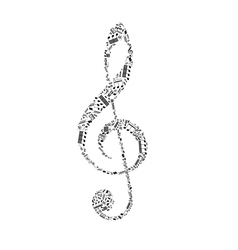 Treble clef sign made up from black music notes on vector
