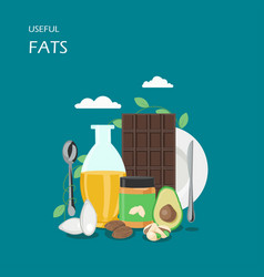 useful fats flat style design vector image