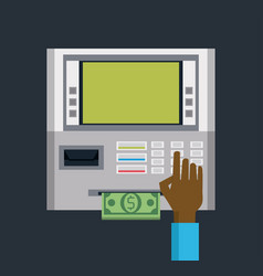 using bank atm vector image