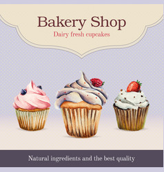 Watercolor bakery shop advertisement with cupcake vector