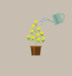 watering money tree money growing on tree money vector image