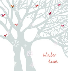 Winter time Christmas card with tree and birds vector image