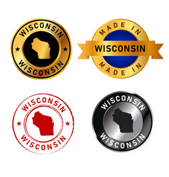 wisconsin badges gold stamp rubber band circle vector image