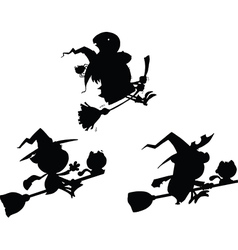 Witch on broom vector