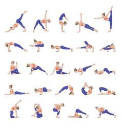 Women silhouettes collection yoga poses asana vector