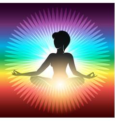 Yoga meditation emblem vector