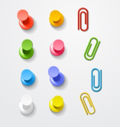 Color pins and clips collection vector image vector image