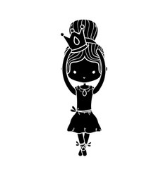 contour girl dancing ballet with crown design vector image