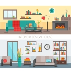 Flat Interior Compositions vector image vector image