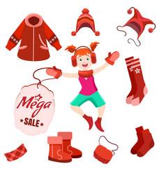 winter sale label with happy kid vector image vector image