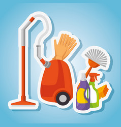 cleaning supplies with vacuum brush gloves spray vector image