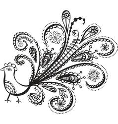 peacock bird line art vector image vector image