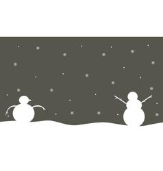 Silhouette of snowman winter scenery vector