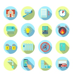 Smart House Round Icons Set vector image vector image