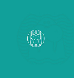 contour modern logo walrus in a round pattern vector image vector image