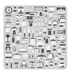 flat icons modern kitchen room set vector image