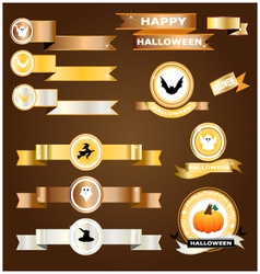 Halloween ribbon gold silver copper vector image vector image