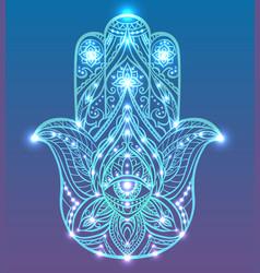 neon of blue hamsa with boho pattern vector image