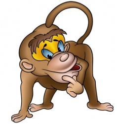 clever monkey vector image vector image