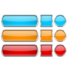 glass buttons with chrome frame set of colored vector image