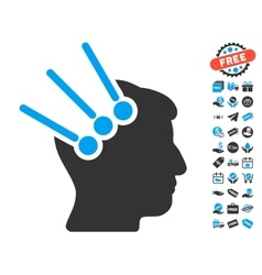Neural Interface Connectors Icon With Free Bonus vector image vector image