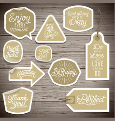 stickers on rustic wood background vector image