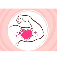 Strong man hand with icon of heart on pi vector