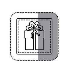 white emblem sticker box with bow ribbon icon vector image