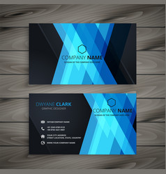 Abstract dark blue business card design vector