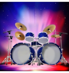 Abstract music dark background with drum kit and vector image