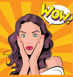an amazed woman or girl vector image