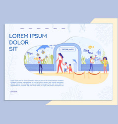 Aquarium excursion for adult and kid landing page vector