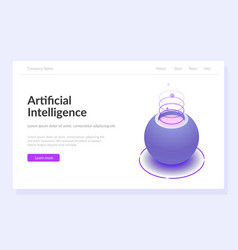 artificial intelligence web page template vector image