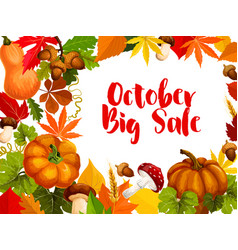 autumn sale poster october discount offer design vector image vector image