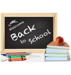 back to school with books and chalkboard vector image