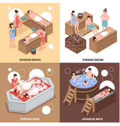 Bath houses isometric design concept vector