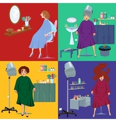 Beauty salon spa customers in robes flat people vector