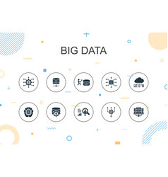 Big data trendy infographic template thin line vector