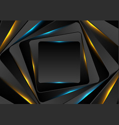 black and glowing blue orange squares abstract vector image