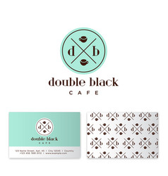 Black coffee cafe two cups business card vector