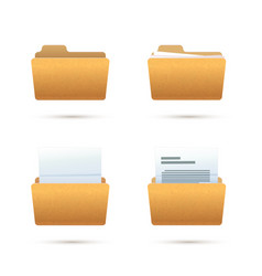 bright yellow realistic folder icons vector image