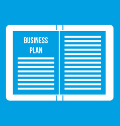 Business strategy plan icon white vector