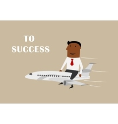 Businessman flying on airplane to success vector